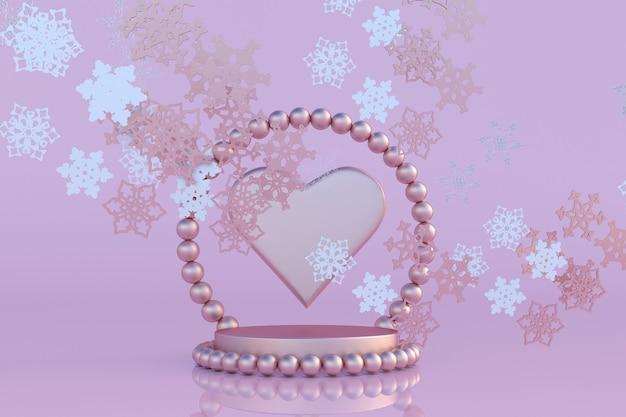 3d nowy rok różowe podium w kształcie serca i płatki śniegu zimowe wakacje boże narodzenie st valentine day