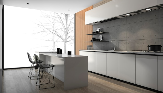 3d odpłaca się białą nowożytną kuchnię z drewnianą podłogową pobliską okno
