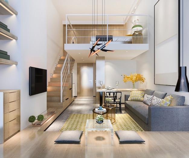 3d odpłaca się białego drewnianego żywego pokój blisko sypialni na piętrze