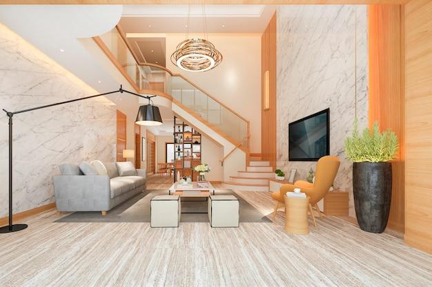 3d odpłaca się biały drewniany żywy izbowy pobliski schodowy i plenerowy