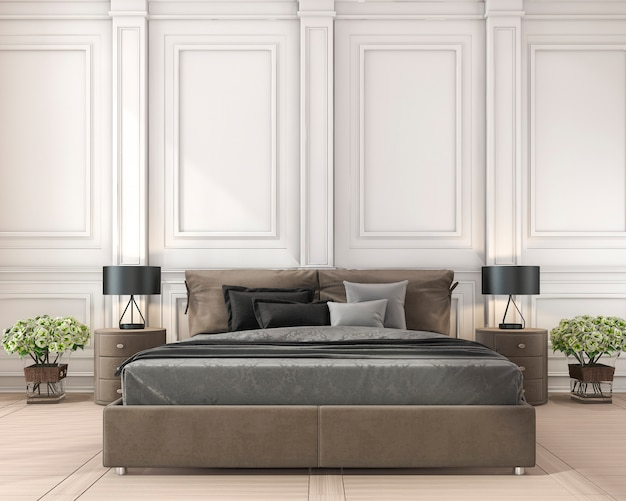 3d odpłaca się brown klasycznego łóżko w klasycznej sypialni z rośliną