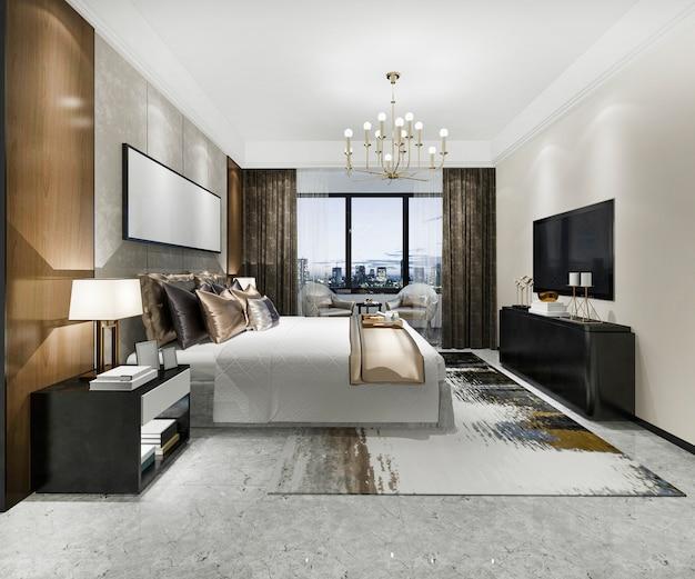 3d odpłaca się luksusowego nowożytnego sypialnia apartament w hotelu