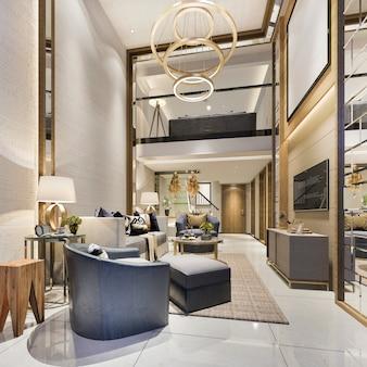 3d odpłaca się nowożytną jadalnię i salon z luksusowym wystrojem