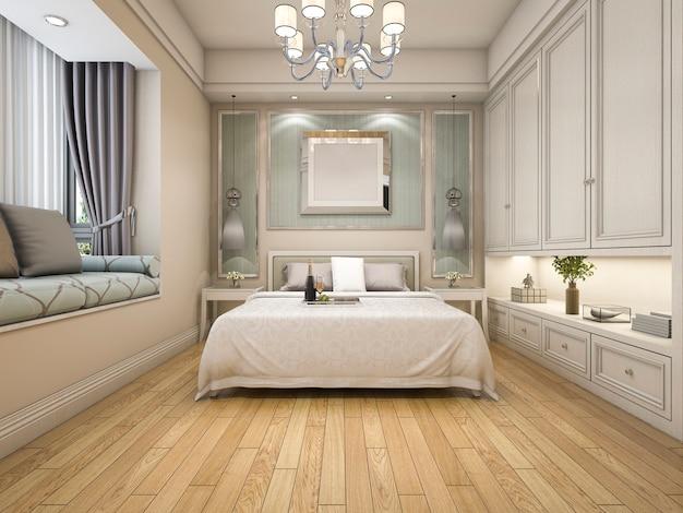 3d odpłaca się nowożytną luksusową klasyczną sypialnię z drewnianą podłoga i białym wystrojem