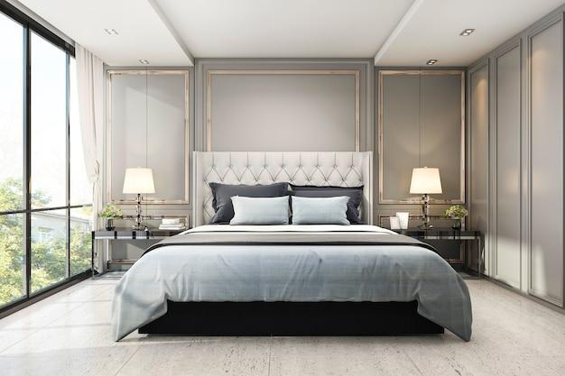 3d odpłaca się nowożytną luksusową klasyczną sypialnię z marmurowym wystrojem