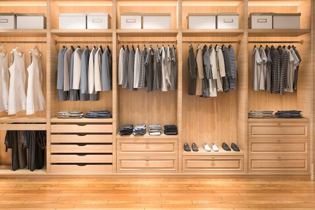 3d odpłaca się nowożytnego skandynawskiego białego drewna spacer w szafie z garderobą