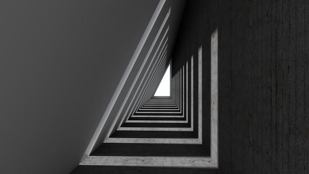 3d odpłacają się abstrakcjonistyczny trójboka kształt w tunelowym tle