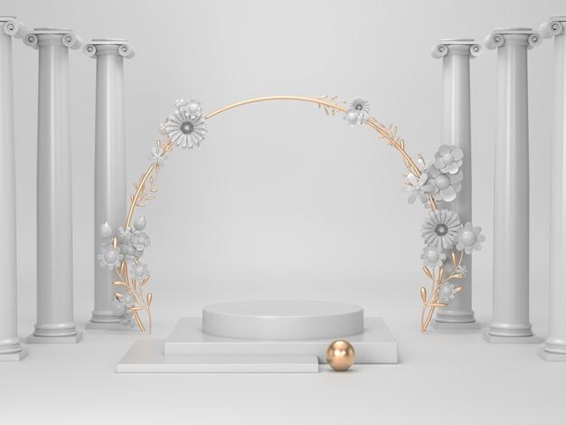 3d odpłacają się białego i złotego podium dla produktu kosmetycznego
