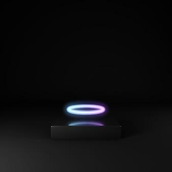 3d odpłacają się czarna scena i neonowy okrąg. prezentacja produktu. neonowy cyberpunk