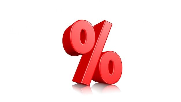 3d odpłacają się, czerwony procent odizolowywający na bielu