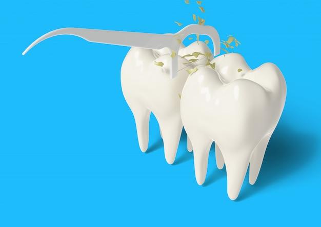 3d odpłacają się czystego ząb z nicią dentystyczną