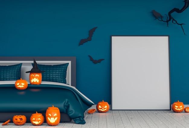 3d odpłacają się halloween przyjęcie w łóżkowych izbowych baniach