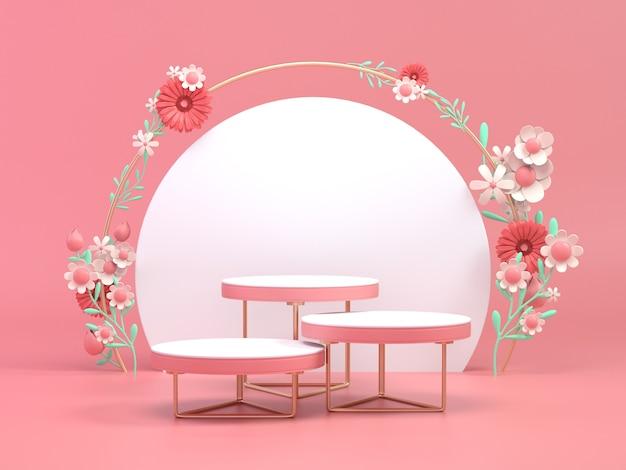 3d odpłacają się kwiecistego projekta podium dla produktu kosmetycznego