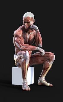 3d odpłacają się męskie postacie pozują z mięśniem