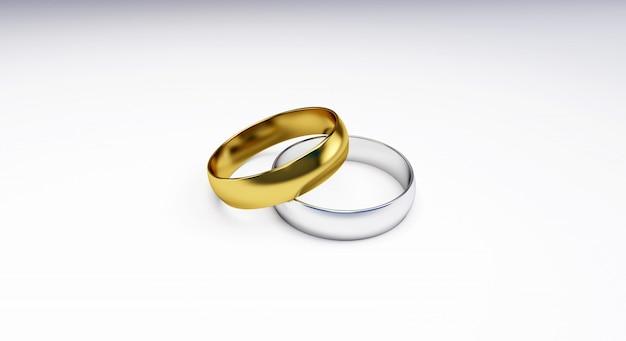 3d odpłacają się obrączki ślubne odizolowywać na białym tle; obrączki złote, srebrne