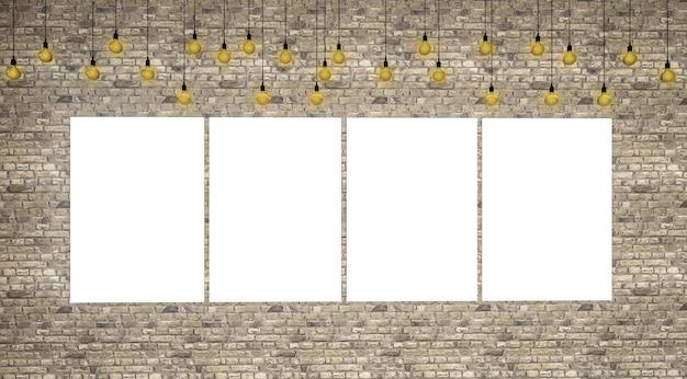 3d odpłacają się obrazek ramy puste miejsce na ściana z cegieł