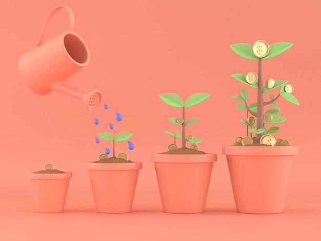 3d odpłacają się pieniądze drzewa monety rośliny dla save pieniądze lub bankowości pojęcia.
