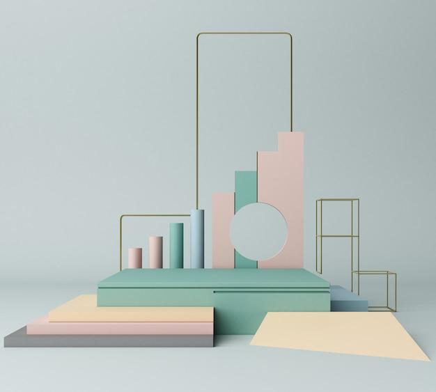 3d odpłacają się pierwotnych kształtów abstrakcjonistyczny geometryczny tło minimalny