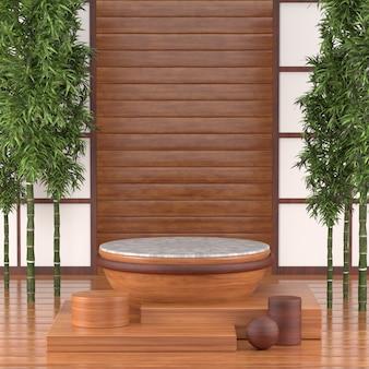 3d odpłacają się podium dla kosmetycznego produktu, 3d podium japan tradyci calture drewniany styl.