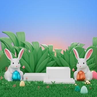 3d odpłacają się pokazu podium produkt dekorują z easter królika jajkiem i królikiem