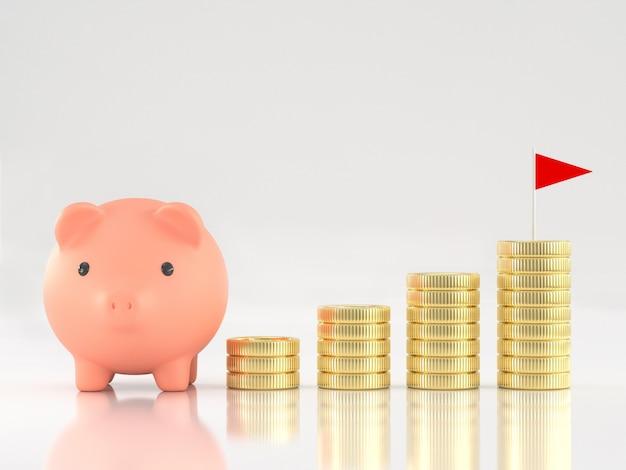 3d odpłacają się prosiątko bank z monetami