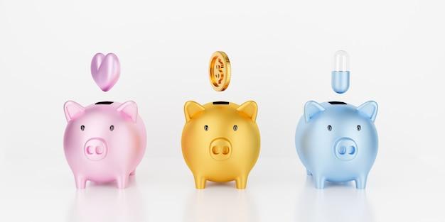 3d odpłacają się prosiątko banka odizolowywającego na białym tle z złocistymi monetami i sercem