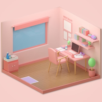 3d odpłacają się różowego pokój pustego
