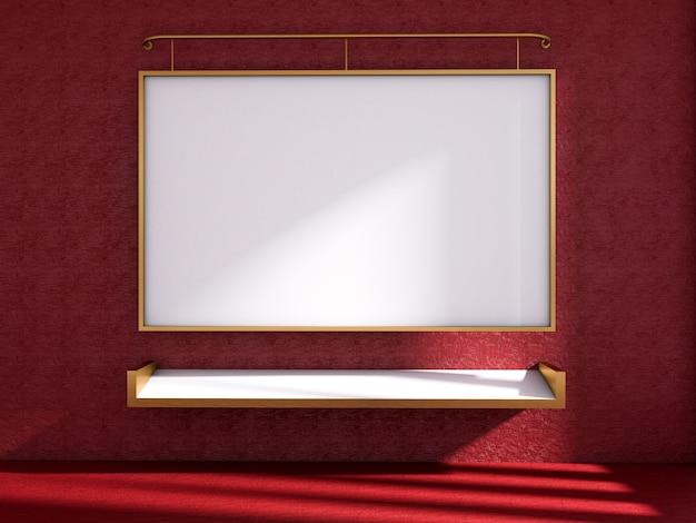 3d odpłacają się sala lekcyjna i whiteboard na czerwonej ścianie, sala lekcyjna