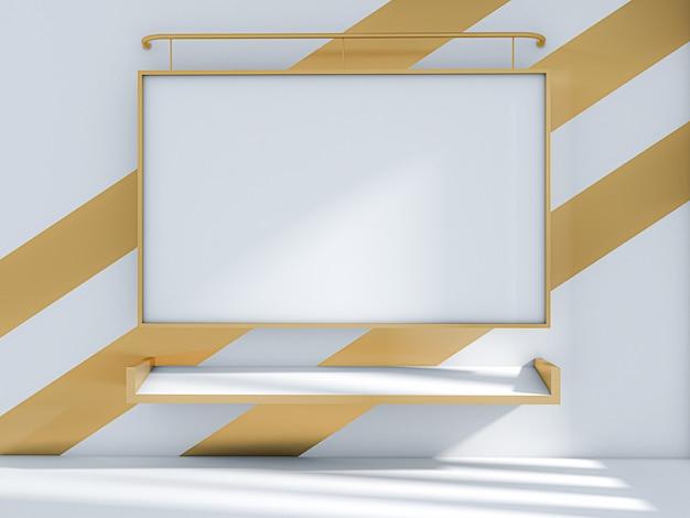 3d odpłacają się sala lekcyjna i whiteboard na złocistej ścianie, sala lekcyjna
