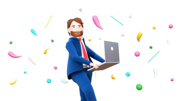 3d odpłacają się szczęśliwy biznesmena charakteru mienia laptop.