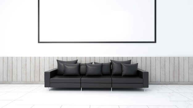 3d odpłacają się wewnętrzny żywy izbowy mockup, kanapa i dywan