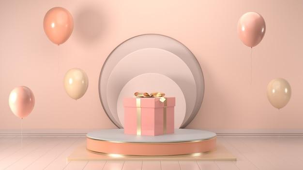 3d odpłacają się wizerunek boże narodzenie prezenta pudełko dekoruje na podium menchii pastelowym kolorze.