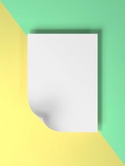 3d odpłacają się wizerunek kolorowy pastelowy pusty papier dla stawiającego teksta lub produktu kreatywnie mieszkanie nieatutowy odpłaca się wizerunek pustego papieru mockup.