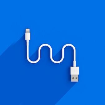 3d odpłacają się wizerunek usb kabel na błękicie