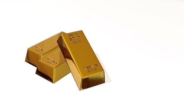 3d odpłacają się złocistej cegły złocisty bar pieniężny pojęcie