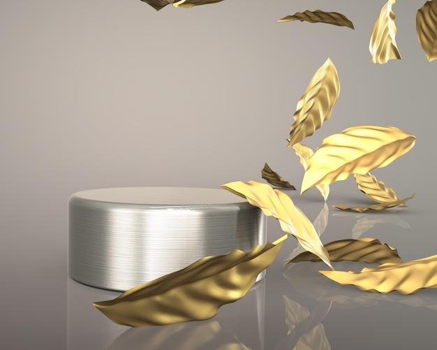 3d odpłacają się złoto opuszcza luksusowego mody podium