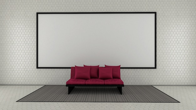 3d odpłacają się żywy pokój i whiteboard na płytki ścianie, żywy pokój