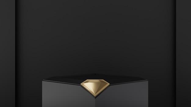 3d odpłacająca się ilustracja z geometrycznymi kształtami z diamentowym złotem