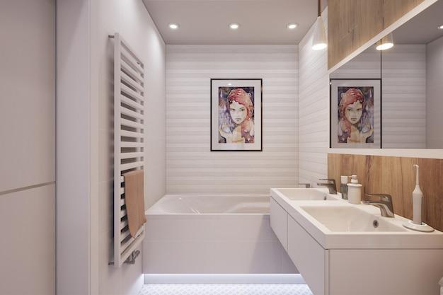 3d odpłacająca się nowocześnie urządzona łazienka