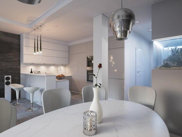 3d odpłacający się otwartej przestrzeni kuchnia