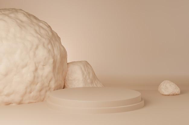 3d of circle podium brązowy pastelowy kolor z rock. prezentacja banera brandingowego produktu i produktu kosmetycznego. prezentacja produktu minimalna.