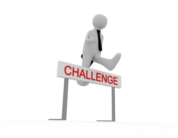 3d osób - mężczyzna, osoba przeskakując przez przeszkodę zatytułowaną wyzwanie.