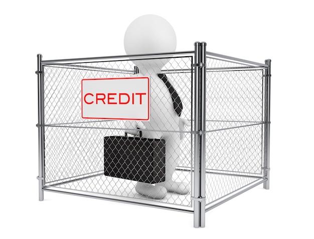 3d osoba biznesmen wewnątrz ogrodzenia kredytu przewodowego na białym tle. renderowanie 3d