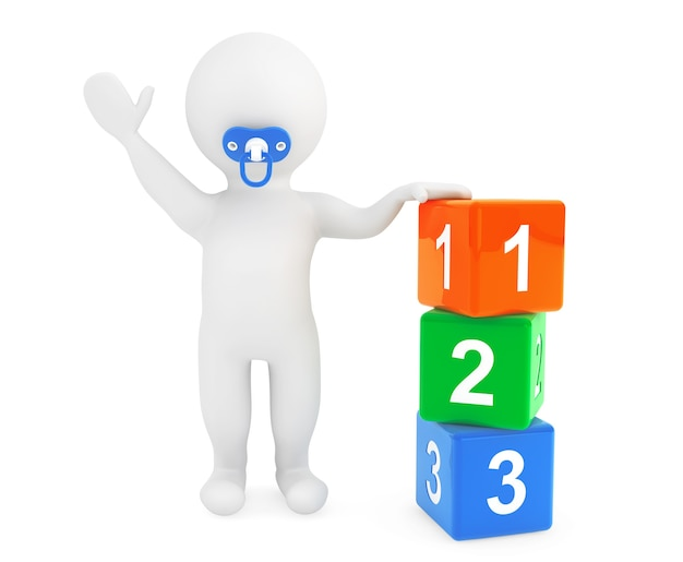 3d osoba dla dziecka ze smoczkiem i kostkami zabawek na białym tle