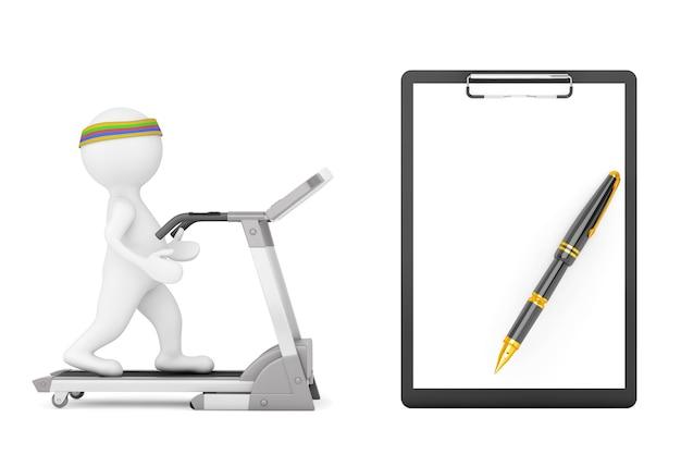 3d osoba na bieżni przed schowkiem z pustego papieru na białym tle. renderowanie 3d