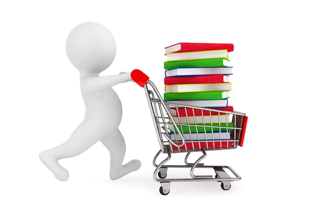 3d osoba pchająca wózek na zakupy z książkami na białym tle