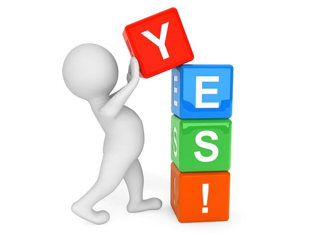 3d osoba umieszczająca kostki yes na białym tle