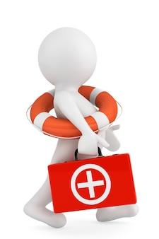 3d osoba z kołem ratunkowym i apteczką na białym tle