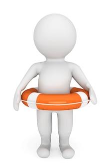 3d osoba z kołem ratunkowym na białym tle