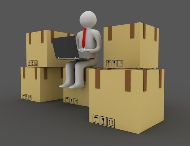 3d osoby i pudełka kartonowe. ilustracja 3d